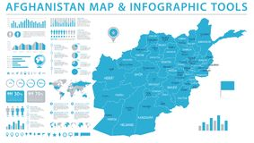 Carte de l'Afghanistan - illustration graphique de vecteur d'infos Photo stock