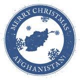 Carte de l'Afghanistan Joyeux Noël de vintage Photos libres de droits