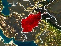 Carte de l'Afghanistan la nuit Photographie stock