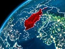 Carte de l'Afghanistan la nuit Images stock