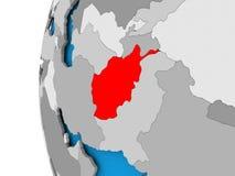 Carte de l'Afghanistan sur le globe politique Images libres de droits