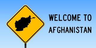 Carte de l'Afghanistan sur le panneau routier Photos libres de droits