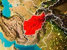 Carte de l'Afghanistan sur terre Photographie stock