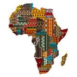 Carte de l'Afrique avec des pays faits de textures ethniques Photos stock