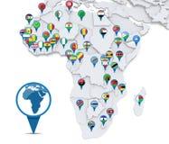 Carte de l'Afrique avec les indicateurs nationaux Photos stock