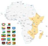 Carte de l'Afrique de l'Est avec des drapeaux Photographie stock libre de droits