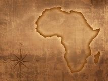 Carte de l'Afrique de vieux type Photographie stock