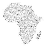 Carte de l'Afrique des lignes noires polygonales, points d'illustration illustration libre de droits