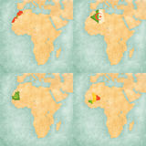 Carte de l'Afrique - du Maroc, de l'Algérie, de la Mauritanie et du Mali illustration stock