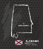 Carte de l'Alabama, dessin de stylo de vecteur sur le fond noir Photographie stock