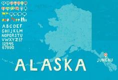 Carte de l'Alaska Photographie stock libre de droits