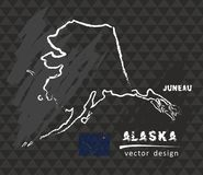 Carte de l'Alaska, illustration de vecteur de croquis de craie Illustration de Vecteur