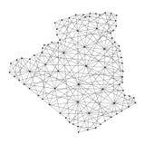Carte de l'Algérie des lignes noires polygonales, points d'illustration illustration libre de droits