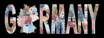 Carte de l'Allemagne avec des euro Photo libre de droits
