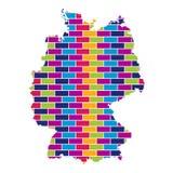 Carte de l'Allemagne avec le fond coloré multi de style de brique illustration de vecteur