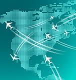 Carte de l'Amérique du Nord avec des avions Image stock