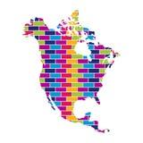 Carte de l'Amérique du Nord avec le fond coloré multi de texture de mur de style de brique illustration stock