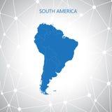 Carte de l'Amérique du Sud, fond de communication Illustration de vecteur Photographie stock