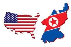 Carte de l'Amérique et carte de la Corée du Nord Photographie stock
