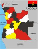 carte de l'Angola Photos stock