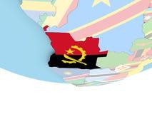 Carte de l'Angola avec le drapeau sur le globe Photographie stock