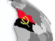 Carte de l'Angola avec le drapeau sur le globe Photos stock