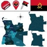 Carte de l'Angola avec Provinces appelée Photos stock