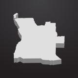 Carte de l'Angola dans le gris sur un fond noir 3d Images libres de droits