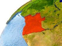 Carte de l'Angola en rouge sur le globe illustration de vecteur