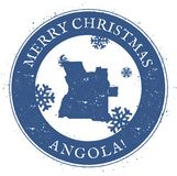 Carte de l'Angola Timbre de l'Angola de Joyeux Noël de vintage illustration libre de droits