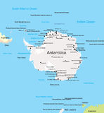 Carte de l'Antarctique Photo stock