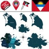 Carte de l'Antigua et du Barbuda Photos stock