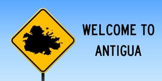 Carte de l'Antigua sur le panneau routier Image libre de droits
