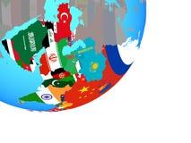 Carte de l'Asie avec le drapeau sur le globe illustration stock