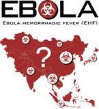 Carte de l'Asie avec le texte d'ebola et le symbole de biohazard Images libres de droits