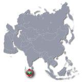Carte de l'Asie et les Maldives illustration stock