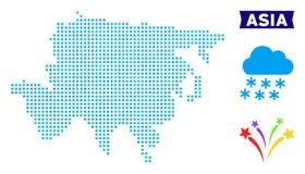 Carte de l'Asie de flocon de neige illustration de vecteur