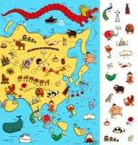 Carte de l'Asie : Grand jeu visuel Locate a isolé des articles sur une carte illustration stock