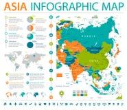 Carte de l'Asie - illustration graphique de vecteur d'infos illustration de vecteur
