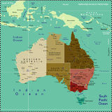 Carte de l'Australie. Photos stock