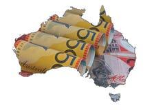 Carte de l'Australie avec la texture de devise Photo stock