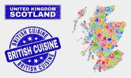 Carte de l'Ecosse de technologie de mosaïque et joint britannique grunge de cuisine illustration libre de droits