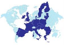 Carte de l'Europe avec la carte du monde Images libres de droits