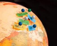 Carte de l'Europe avec le plan de voyage Photographie stock