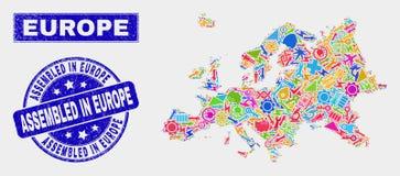 Carte de l'Europe de technologie de collage et rayé réuni dans le joint de l'Europe illustration de vecteur