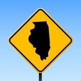 Carte de l'Illinois sur le panneau routier illustration libre de droits