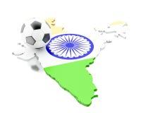 carte de l'Inde 3d avec le football du football Image libre de droits