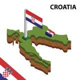 Carte de l'information et drapeau isométriques graphiques de la CROATIE illustration isom?trique du vecteur 3d illustration libre de droits