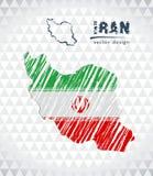 Carte de l'Iran avec la carte tirée par la main de stylo de croquis à l'intérieur Illustration de vecteur illustration libre de droits