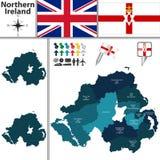 Carte de l'Irlande du Nord avec des subdivisions Photos stock